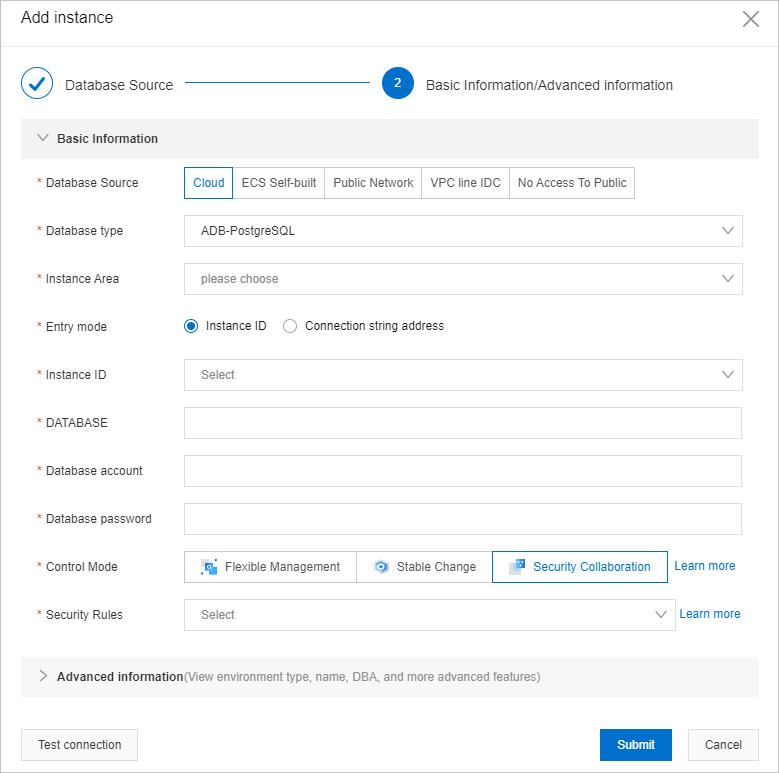 Add instance cloud ADB PostgreSQL