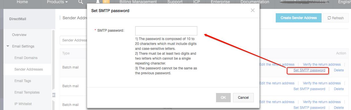 SMTP Password